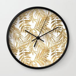 Elegant tropical gold white palm tree leaves floral Wall Clock