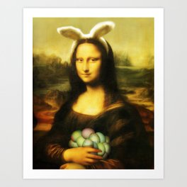 Easter Mona Lisa with Bunny Ears and Colored Eggs Art Print