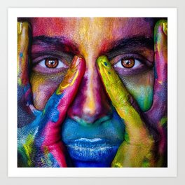 Colorful Face Paint Portrait Art Print