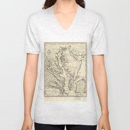 Vintage Map of The Chesapeake Bay (1752) Unisex V-Neck