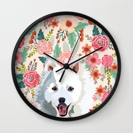 Japanese Spitz floral pet portrait wall art and gifts for dog breed lovers Wall Clock