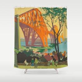 Mid Century Colorful Travel Posters Forth Bridge British Railways Shower Curtain