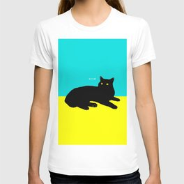 Black Cat on Yellow and Sky Blue T-shirt