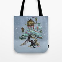 christmas tree Tote Bags featuring Christmas Tree by Anna Shell