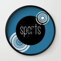 sports Wall Clocks featuring SPORTS by VIAINA DESIGN