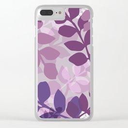 Ultra Violet Purple Lavender Leaves Pattern Clear iPhone Case