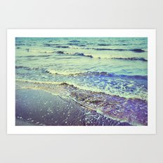 Retro beach. Summer Waves Art Print