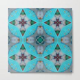 Aqua Motion Four Pointed Stars Metal Print
