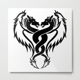 Curled dragons tribal tattoo design Metal Print