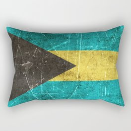 Vintage Aged and Scratched Bahamas Flag Rectangular Pillow