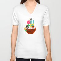 pirate ship V-neck T-shirts featuring PIRATE SHIP (AQUATIC VEHICLES) by Alapapaju