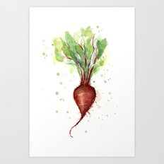 Red Beet Watercolor | Vegetable Painting Art Print