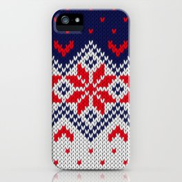 Winter knitted pattern 11 iPhone Case