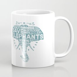 Save Elephants - Word Cloud Silhouette Coffee Mug