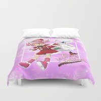 madoka magica Duvet Covers featuring Merry Christmas Madoka Kaname by Neo Crystal Tokyo