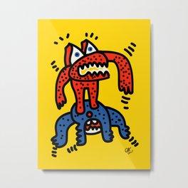 Red Blue Cool Monsters Street Art Yellow Metal Print