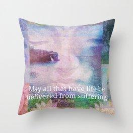 Buddha Vegan quote Throw Pillow