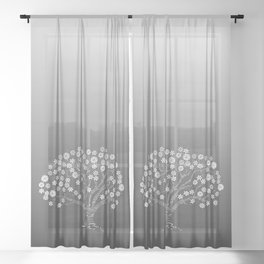 zen tangled apple tree with blossom on the grey gradient Sheer Curtain