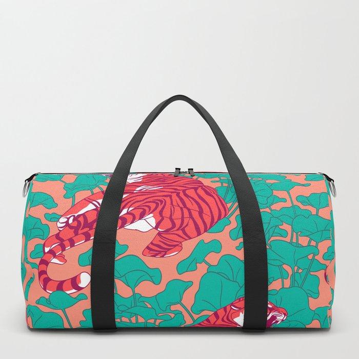 Scarlet tigers on lotus flower field. Duffle Bag