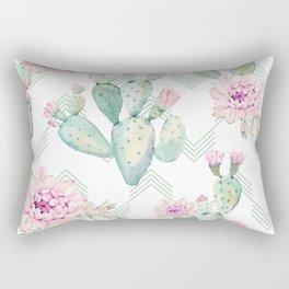 Cactus Rose Deconstructed Chevron Rectangular Pillow