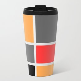 Mondrianista orange red black and gray  Travel Mug