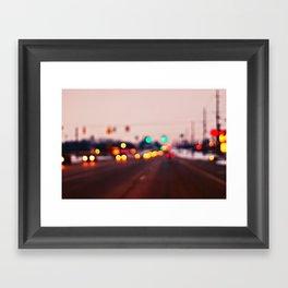 City Lights Bokeh Framed Art Print
