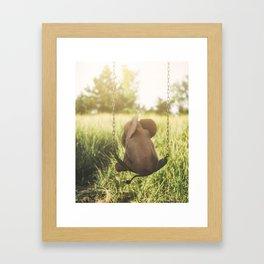 Baby Elephant on Swing Framed Art Print