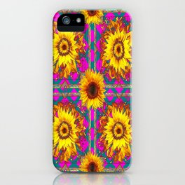 Golden Sunflowers In Teal-Fuchsia Abstracted Patterns iPhone Case