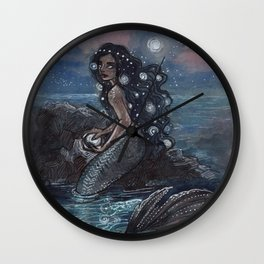 Evening Glow Mermaid and Firefly Squid Wall Clock