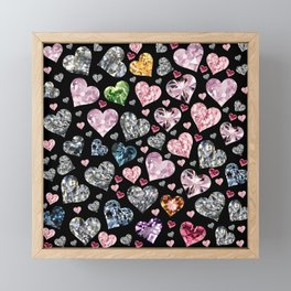 Heart Diamonds are Forever Love Black Framed Mini Art Print