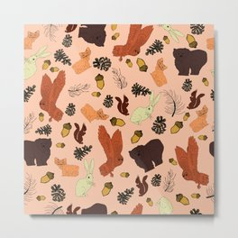 Pink Woodland Forest Animals and Pine Cones Repeat Pattern Metal Print