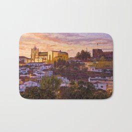 Silves castle and cathedral at dusk Bath Mat