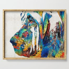 Colorful Bloodhound Dog Art By Sharon Cummings Serving Tray