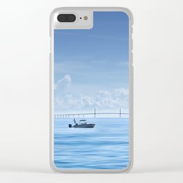 Fishing boat in front of Sunshine Skyway Clear iPhone Case