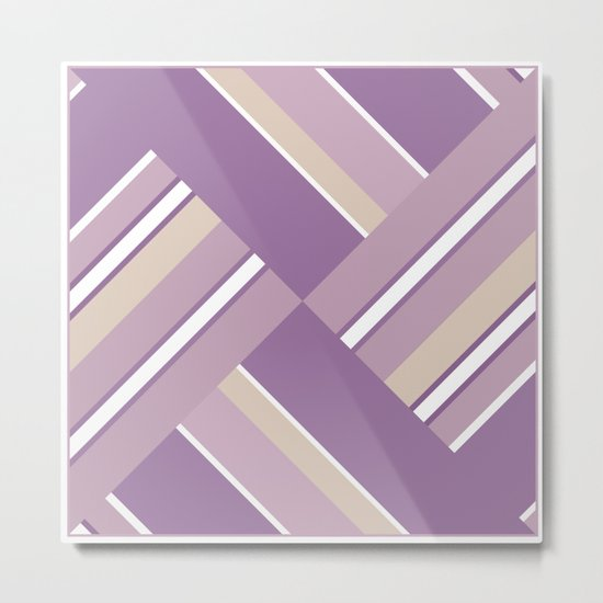 Abstraction . Light lilac pink stripe combo pattern . Metal Print