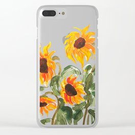 sunflower watewrcolor 2018 Clear iPhone Case