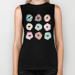 Watercolour Donuts on White Biker Tank
