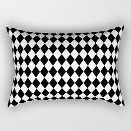 Classic Black and White Harlequin Diamond Check Rectangular Pillow
