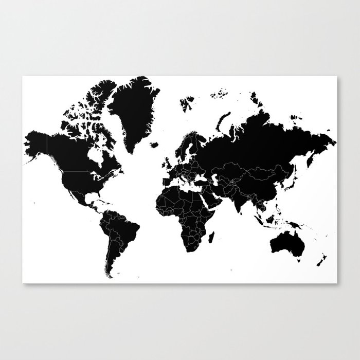 Minimalist World Map Black On White Background Canvas Print By