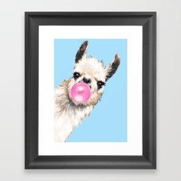 Bubble Gum Sneaky Llama in Blue Framed Art Print