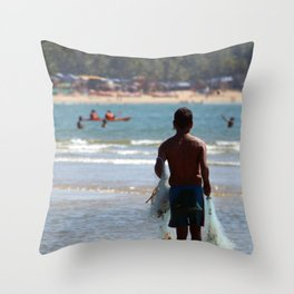 Fisherman Carrying Nets Palolem Throw Pillow