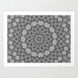 Shades of Grey and Black Mandala Kaleidoscope A128B Art Print
