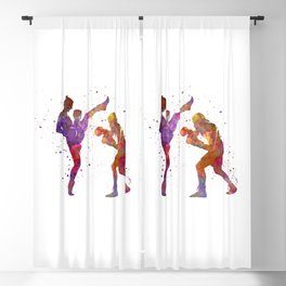 Woman boxwe boxing man kickboxing silhouette isolated 01 Blackout Curtain