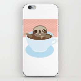Sloth in a blue cup coffee, tea, Three-toed slot iPhone Skin