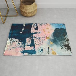 Candyland: a vibrant, colorful abstract piece in blue teal pink and gold by Alyssa Hamilton Art Rug