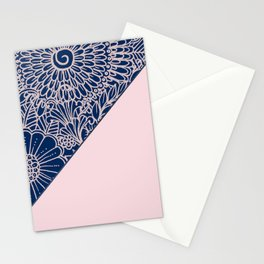 Blush pink navy blue hand drawn modern floral Stationery Cards