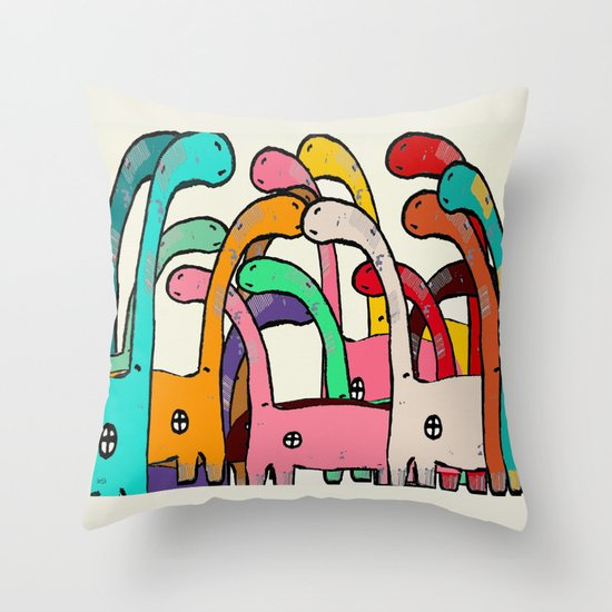 Dino Disco Throw Pillow