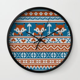 Fair Isle Fox - Blue Wall Clock