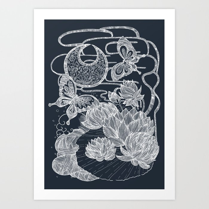 Lotus and Butterfly Art Print