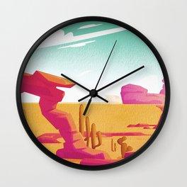 Desert Gaze Kitschy Vintage Watercolor in Mid Century Style Wall Clock